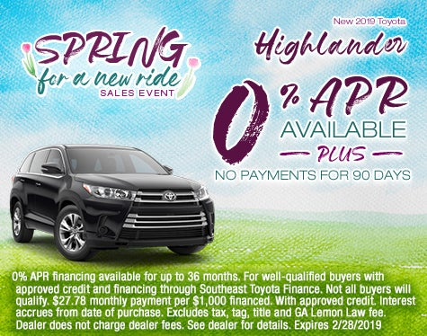 Toyota Highlander Sale Cherokee County Toyota Specials Canton Ga
